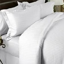 1500 Thread Count 100% Egyptian Cotton DUVET COVER SET Striped WHITE