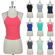 Halter Neck Cropped Tank Top Tie Strap Back Solid Cute Sexy Cotton Spandex S M L