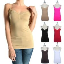 Seamless Lace Trim Camisole Adjustable Spaghetti Strap Tank Top Stretch ONE SIZE