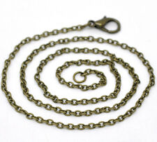 Wholesale Lots Bronze Tone Lobster Clasp Chain Necklaces 2x3mm 16""