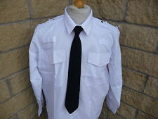 Security Pilot Police Prison Officer white long sleeve Shirt NEW eppaulete loops