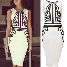 Womens Sleeveless Bodycon Midi Pencil Dress Casual Summer Party Lady Dress