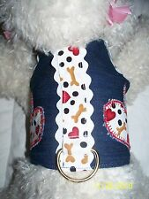 DOG CAT FERRET~Adorable Couture DENIM Harness with Bone & Heart Trimmings