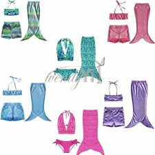 Girls Little Mermaid Tail Swimwear Swimming Princess Costume Swimsuit Bikini set