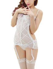 Sexy Women's Lingerie Lace Dress Underwear Sleepwear G-string White
