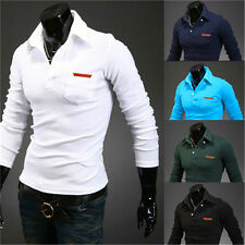 Hot New Men's Slim Fitted Stylish Polo Lapel Long Sleeve Solid Casual T-shirts