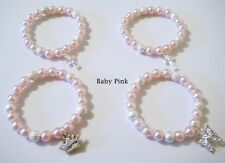 Baby PINK pearl CROSS - BUTTERFLY - PRINCESS charm bracelet Christening gift