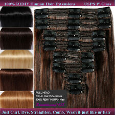 Clip In 100% Real Human Hair Extensions Remy Indian 18''20''22''150/160g US SS67