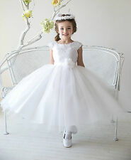 Gorgeous White communion tulle lace wedding party gown pageant flower girl dress