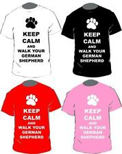 Keep Calm And Walk Your German Shepherd T-shirt In 4 Colours For Adults & Kids