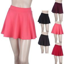 SKATER SKIRT Solid Flare Mini A-Line Plain Stretchable Waistband Cute Span S M L