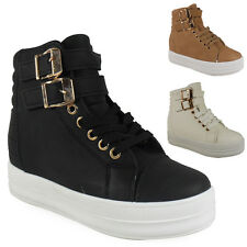 NEW WOMENS LADIES ANKLE LACE UP VELCRO  BUCKLE HI-TOP SHOES BOOTS TRAINERS SIZE