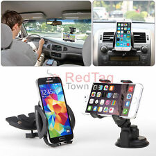 Car Windshield Suction Cup+CD Dash Slot Mount Holder For iPhone 6S Plus S7 Edge