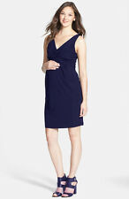 New Japanese Weekend Maternity Nursing Navy Jersey Twist Front Shift Dress S 6 8