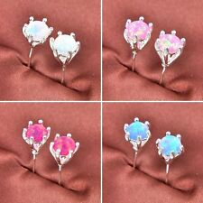 925 Sterling Silver Plated Woman Rose Pink Blue White Fire Opal Stud Earrings