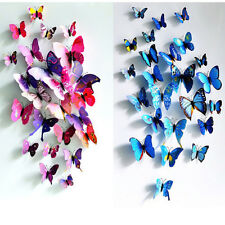 12X Art Design Decal Stickers muraux foyer Décorations Chambre Papillon 3D