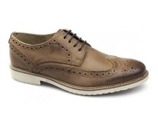 Ikon HAZEL Mens Real Leather Lace-Up Full Brogue Smart Casual Office Shoes Tan