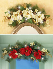 Collections Etc Led Floral Magnolia Wall Swag Decoration