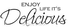 ~ ENJOY LIFE IT'S DELICIOUS Wall Decal Sticker Word Art Home Decor NEW!