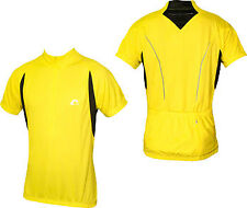 More Mile Mens Short Sleeve Cycle Cycling Bike Jersey Yellow