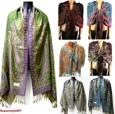 55% Pasmina & 45% Silk Paisley Leaves Pashmina Multi-Color Scarf Shawl Evening
