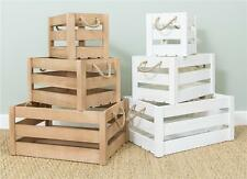 Rustic Vintage Shabby Chic Wooden Rope Slatted Apple Crate Display Box Farm Shop