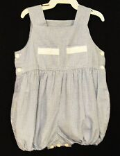 Betti Terrel 1122  One Piece Blue Check Romper with White Trim , Boys 12 M_ NWT