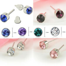 Crystal 18k White Gold Plating Gemstone Stud Earrings with Jewelry