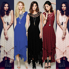 2 Pcs Womens Sexy Vintage Party Evening Casual Bodycon Maxi Long Slim Lace Dress