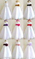 White red black brown gold pink silver organza wedding flower girl party dress