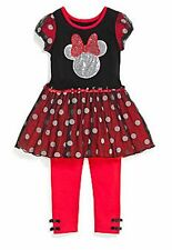 DISNEY® Girl's 5-6 Red & Black 2-Piece Minnie Dot Tunic & Legging Set *NWT*