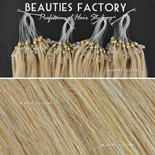 """Straight Micro Bead Loop Ring Remy Human Hair Extensions 20"""" #18/613 (Hair615)"""