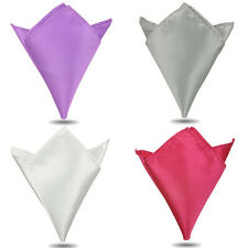 Pocket Square Mens Satin Solid Plain Color Handkerchief Hanky Wedding Suit Party