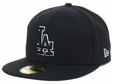 Los Angeles Dodgers Black Hats Logo BLACK WHITE OUTLINE New Era 5950 Fitted Caps