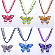 Charm Butterfly Crystal Rhinestone Pendant Necklace Sweater Chain Women Jewelry