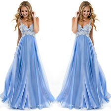 Formal Long Lace Women Prom Evening Party Bridesmaid Wedding Maxi Dress SkyBlue