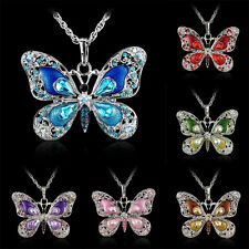 New Butterfly Necklace Pendant Rhinestone Alloy Crystal Long Chain Hot Gift