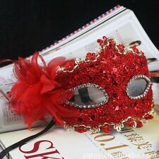 Good Eye Face Mask with Feather Flower for Venetian Masquerade Halloween Costume