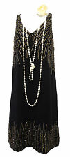 New Retro 1920's Charcoal Black Beaded Gatsby Downton Flapper Charleston Dress
