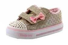 Skechers Toddler Girl's Twinkle Toes Sweet Steps Gold Light Up Sneakers Shoes