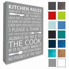Kitchen Wall Picture Wall Art Kitchen Rules Wall Plaque Canvas Print A3/A4