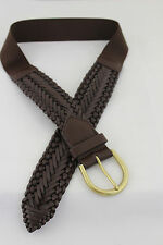Aeropostale Women Brown Braided Faux Leather Elastic Band Fashion Belt S/M M/L