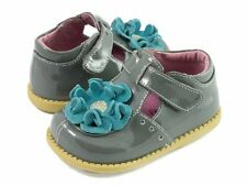 NIB LIVIE & LUCA Shoes Blossom Patent Leather Gray Blue Flower 4 5 6 7 8 9