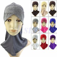 Under Scarf Hat Cap Bone Bonnet Muslim Hijab Islamic Neck Cover Inner Head Wear