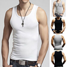 Men's Premium Cotton A-Shirt Muscle Ribbed Wife Beater Tank Slim Casual Top Vest