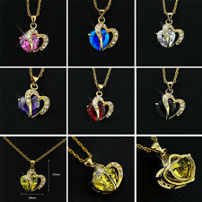 1PC Gold/Silver Plated Love Heart Crystal Rhinestone Necklace Pendant Jewelry