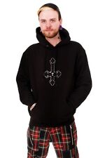 Upsidedown Cross Mens Hooded Top Rock Goth  by Omen Clothing