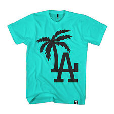 BLVD SUPPLY Men's LA Palm T Shirt  Teal  Urban Streetwear Hip Hop Soulja Boy