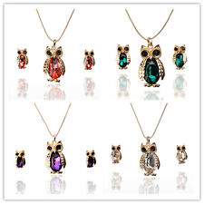Women Gold Plated Austrian Crystal Owl Peach Pendant Jewelry Sets In 4 Color