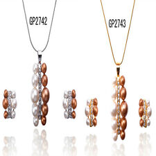 Vogue 14k Gold Filled Austrian Crystal Necklace Earring Jewelry Set In 2 Colors